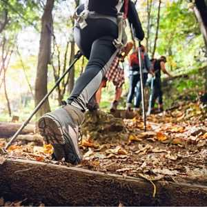 hiker-woman-with-trekking-sticks-climbs-steep-on-mountain-trail-focus-picture-id1206631899